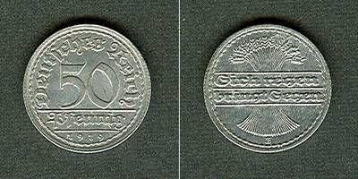 1919 Weimarer Republik DEUTSCHES REICH 50 Pfennig 1919 E (J.301) vz+/vz selten vz+/vz