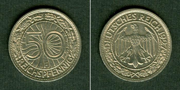 1927 Weimarer Republik DEUTSCHES REICH 50 Reichspfennig 1927 F (J.324) vz+ vz+