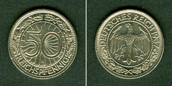 1937 Weimarer Republik DEUTSCHES REICH 50 Reichspfennig 1937 D (J.324) vz-st vz-stgl.!