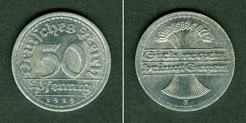 1919 Weimarer Republik DEUTSCHES REICH 50 Pfennig 1919 E (J.301) st selten stgl.!