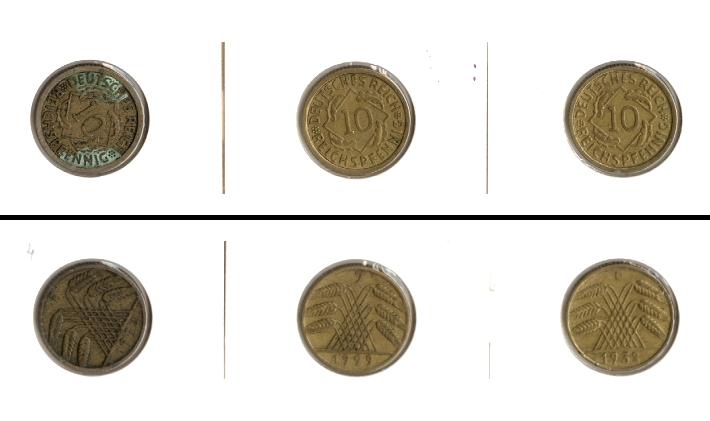 1924-1932 Weimarer Republik Lot: DEUTSCHES REICH 3x 10 Pfennig [1924-1932]