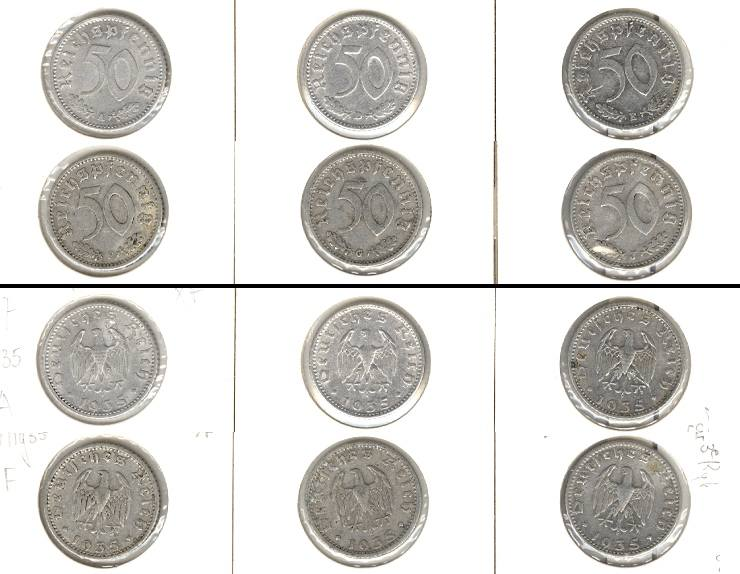 1935 Kursmünzen Lot: DEUTSCHES REICH 6x 50 Pfennig 1935 A D E F G J