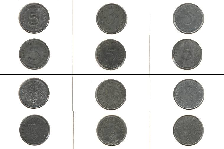 1940-1944 Kursmünzen Lot: DEUTSCHES REICH 6x 5 Pfennig m.HK [1940-1944]