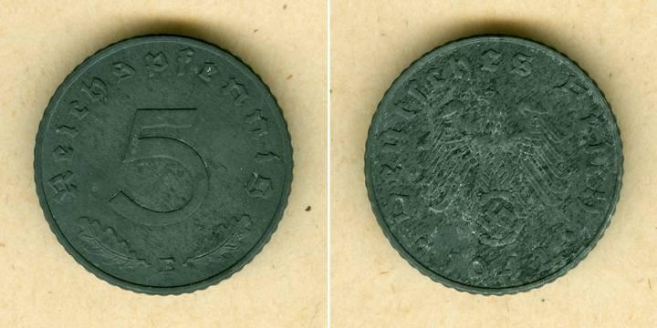 1942 Kursmünzen DEUTSCHES REICH 5 Reichspfennig 1942 E (J.370) vz selten vz