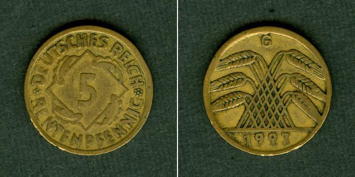1923 Weimarer Republik DEUTSCHES REICH 5 Rentenpfennig 1923 G (J.308) ss selten! ss