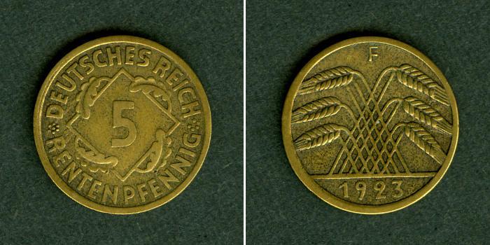 1923 Weimarer Republik DEUTSCHES REICH 5 Rentenpfennig 1923 F (J.308) ss-vz selten! ss-vz