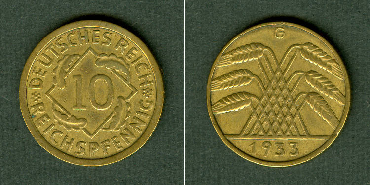 1933 Weimarer Republik DEUTSCHES REICH 10 Reichspfennig 1933 G (J.317) ss+ ss+