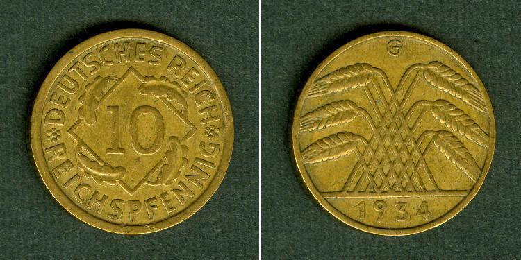 1934 Weimarer Republik DEUTSCHES REICH 10 Reichspfennig 1934 G (J.317) ss+ selten ss+