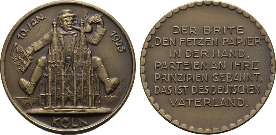 Satirische Bronzemedaille (v.Goetz) 1925. KÖLN Prägefrisch