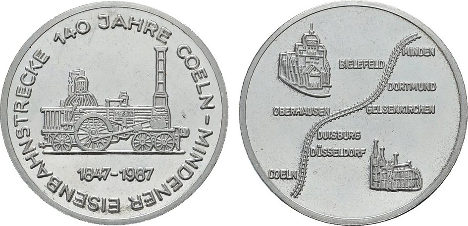 Nickelmedaille 1987. KÖLN Fast Stempelglanz