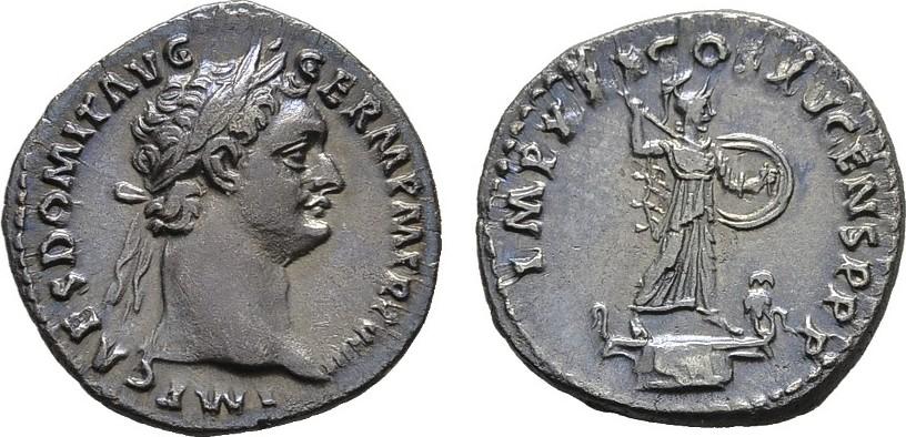 AR-Denar 90, Rom. RÖMISCHE KAISERZEIT Domitianus, 81-96. Fein getönt.. Prägefrisch