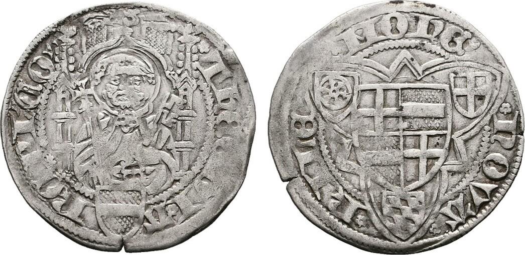 Weißpfennig o.J. (1454/55), Riel. KÖLN Dietrich II. von Moers, 1414-1463. Sehr schön