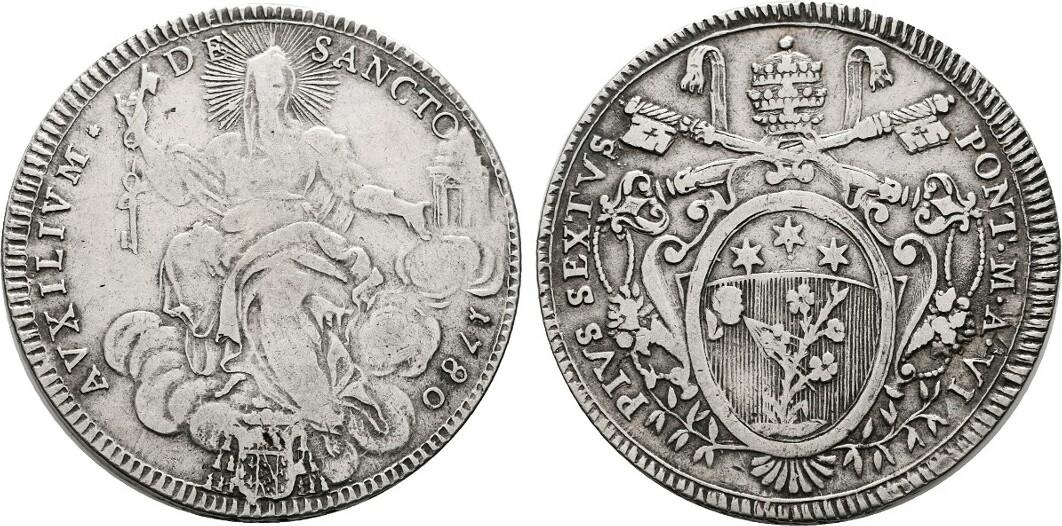 Scudo 1780. ITALIEN Pius VI., 1775-1799. Sehr schön.