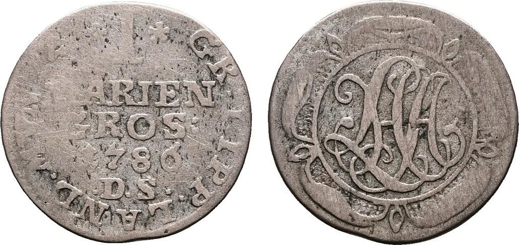 Mariengroschen 1786. LIPPE Ludwig Heinrich Adolf, 1782-1789. Schön