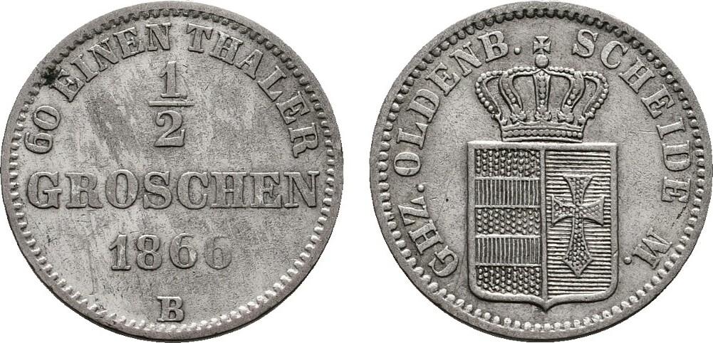1/2 Groschen 1866. OLDENBURG Nicolaus Friedrich Peter, 1853-1900. Vorzüglich.