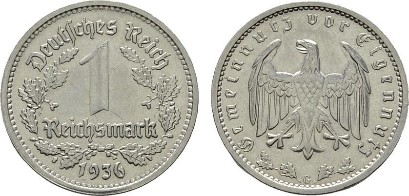 1 Reichsmark 1936, G. DRITTES REICH Vorzüglich.