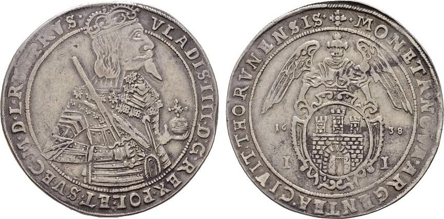 Taler 1638, Thorn. POLEN Wladislaw IV., 1632-1648. Sehr schön +.