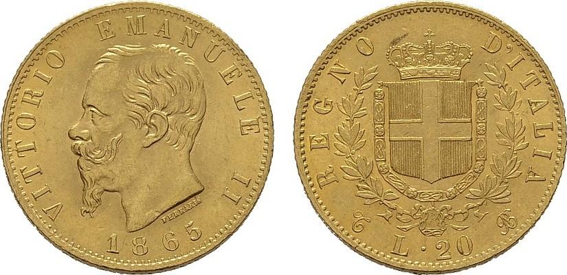20 Lire 1865, Turin. ITALIEN Victor Emanuel II., 1859-1861-1878. Prägefrisch.