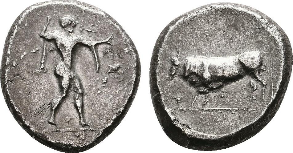 AR-Stater (480-400 v.Chr.) LUCANIA POSEIDONIA. Sehr schön.