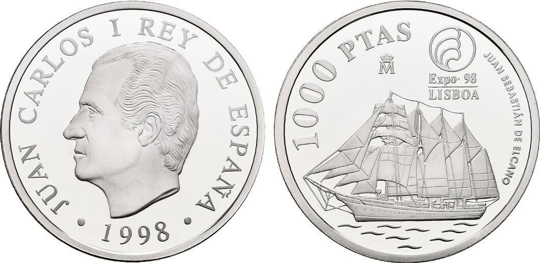 1.000 Pesetas 1998. SPANIEN Juan Carlos I. seit 1975. Polierte Platte.