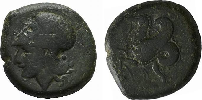 Æ-Trias SICILIA SYRAKUS. Timoleon, 344-336 v. Chr. Sehr schön
