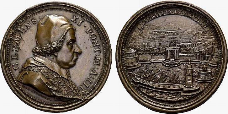 Bronzemedaille Jahr III (1703), Rom. ITALIEN Clemens XI., 1700-1721. Vorzüglich +