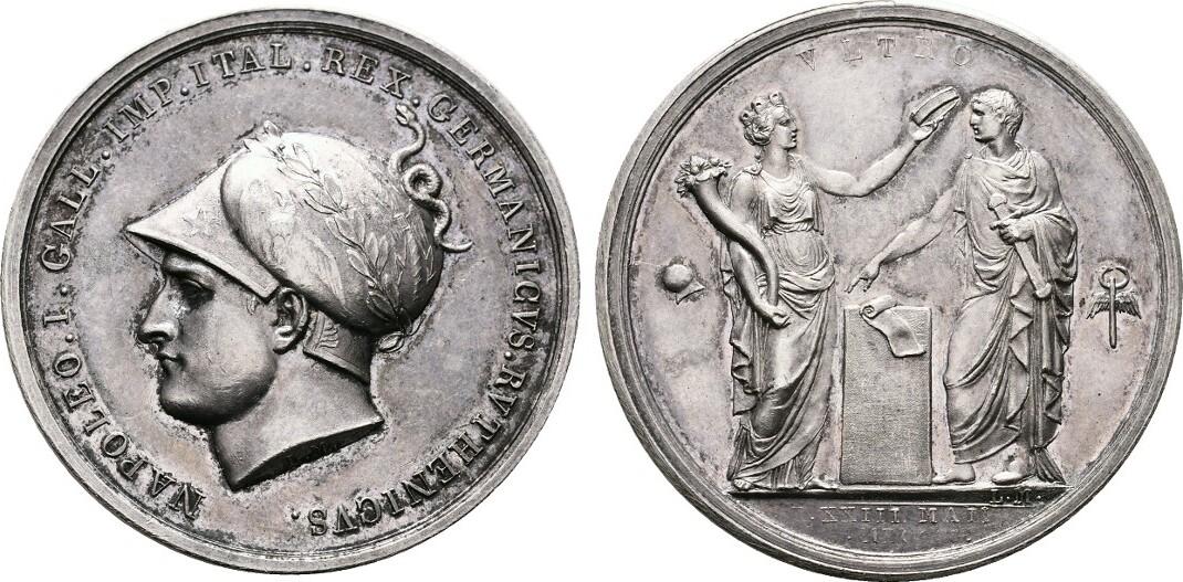 PROBE - Silberne Zwittermedaille (v. Manfredini) 1805. FRANKREICH Napoléon I, 1804-1814, 1815. Leichte Patina. Fast Stempelglanz