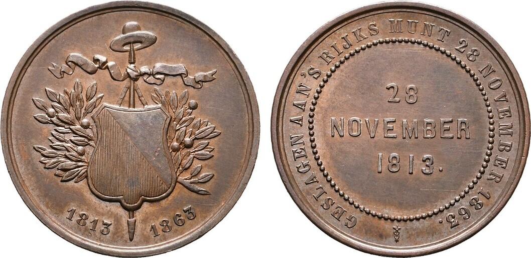 Bronzemedaille 1863. NIEDERLANDE Stadt. Fast Stempelglanz