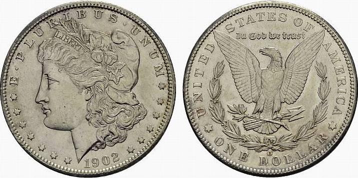 1 Dollar 1902, O - New Orleans. USA Föderation. Fast Stempelglanz