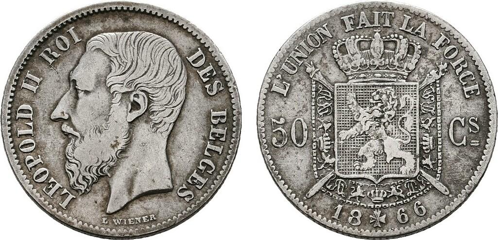 50 Centimes 1866. BELGIEN Leopold II., 1865-1909. Sehr schön-vorzüglich