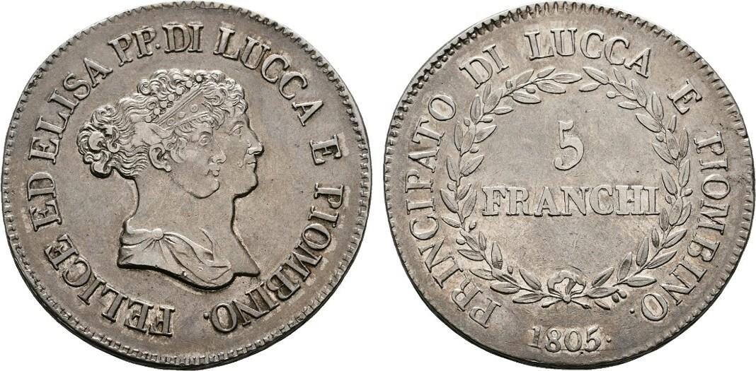 5 Franchi 1805, Florenz. ITALIEN Elisa Bonaparte und Felix Baciocchi, 1805-1814. Attraktive Patina. Vorzüglich