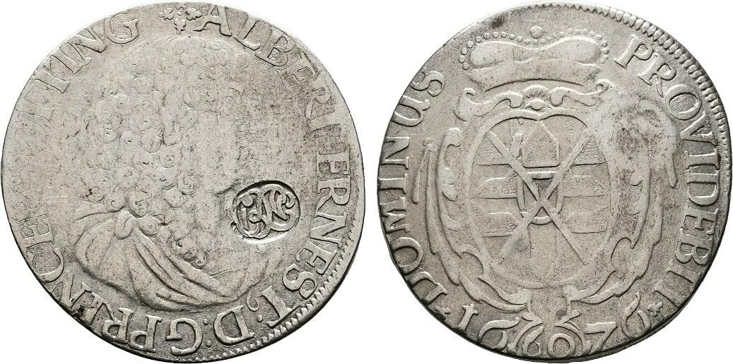 2/3 Taler (60 Kreuzer) 1676. KÖLN // ÖTTINGEN Fast sehr schön(Gegenstempel sehr schön).