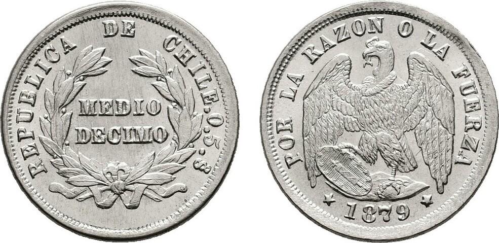 1/2 Decimo 1879. CHILE Stempelglanz