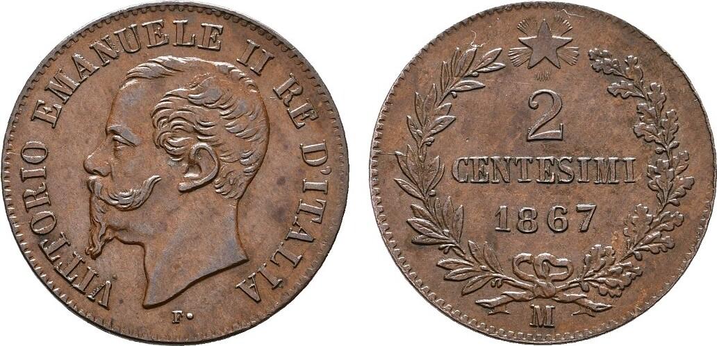 Ku.-2 Centesimi 1867, Mailand. ITALIEN Victor Emanuel II., 1859-1861-1878. Fast Stempelglanz / Stempelglanz