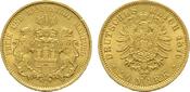 20 Mark 1876, J. Hamburg Freie und Hansestadt. Vorzüglich -Stempelglanz