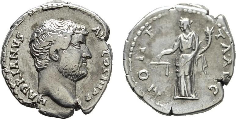 AR-Denar Rom. RÖMISCHE KAISERZEIT Hadrianus, 117-138. Sehr schön.