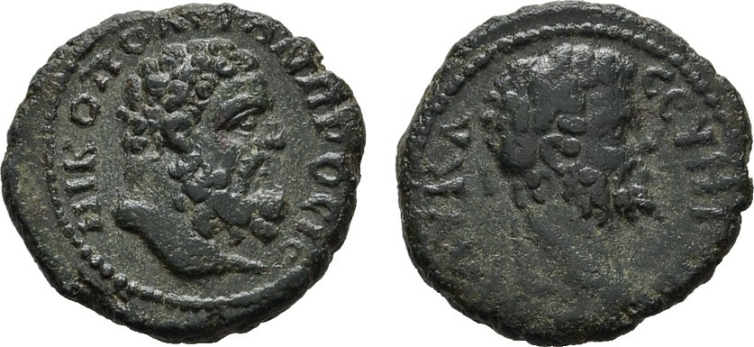 AE-Assarion 16-17 mm, ( am Istros ). MOESIA NIKOPOLIS, Septimius Severus, 193-211. Dunkelgrüne Patina, Sehr schön -Vorzüglich