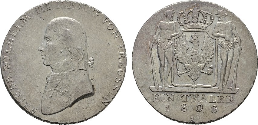 Taler 1803 A-Berlin. BRANDENBURG-PREUSSEN Friedrich Wilhelm III., 1797-1840. Feine Tönung. Fast Stempelglanz