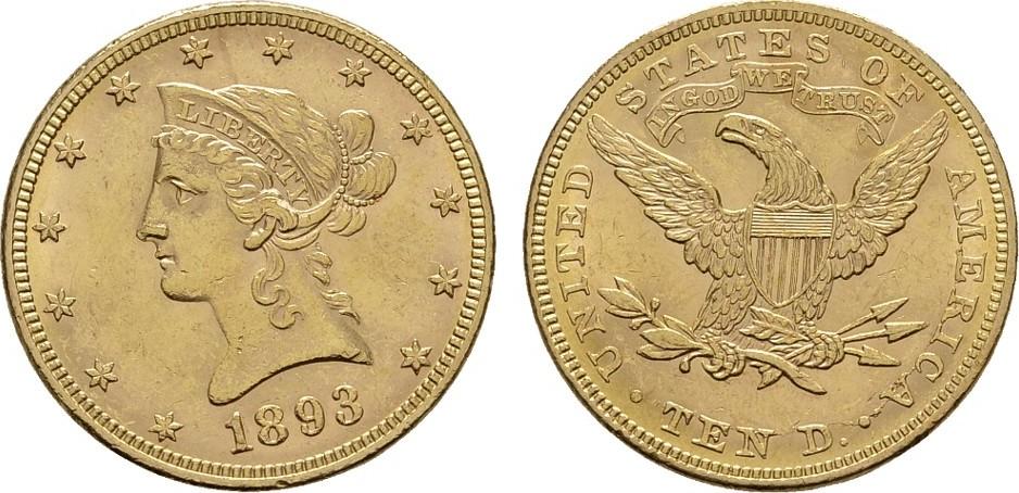 10 Dollar 1893 Philadelphia. USA Vorzüglich +.