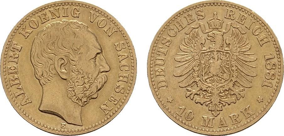 10 Mark 1881 E. Sachsen Albert, 1873-1902. Sehr schön.