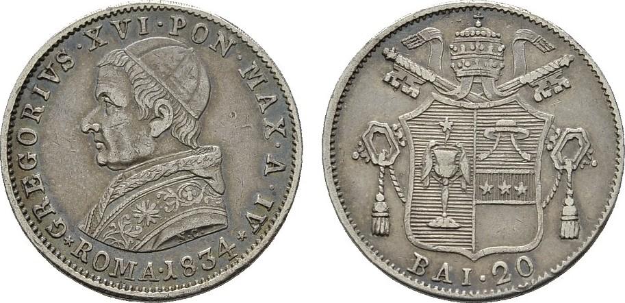 20 Baiocchi 1834 ITALIEN Gregor XVI., 1831-1846. Hübsche Patina; Vorzüglich