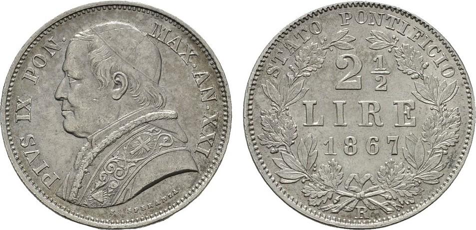 2 1/2 Lire 1867 R ITALIEN Pius IX., 1846-1878. Vorzüglich-stempelglanz