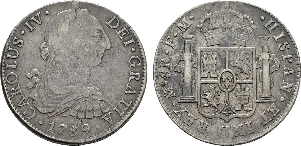 8 Reales 1789 F.M. MEXIKO Carlos IV., 1788-1808. Hübsche Patina; Sehr schön +