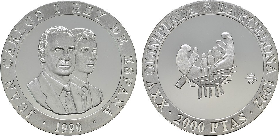 2.000 Pesetas 1992. SPANIEN Juan Carlos I., 1975-2014. Polierte Platte