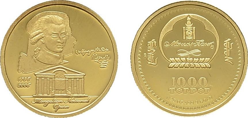 1.000 Tugrik 2006. MONGOLEI Volksrepublik. Polierte Platte