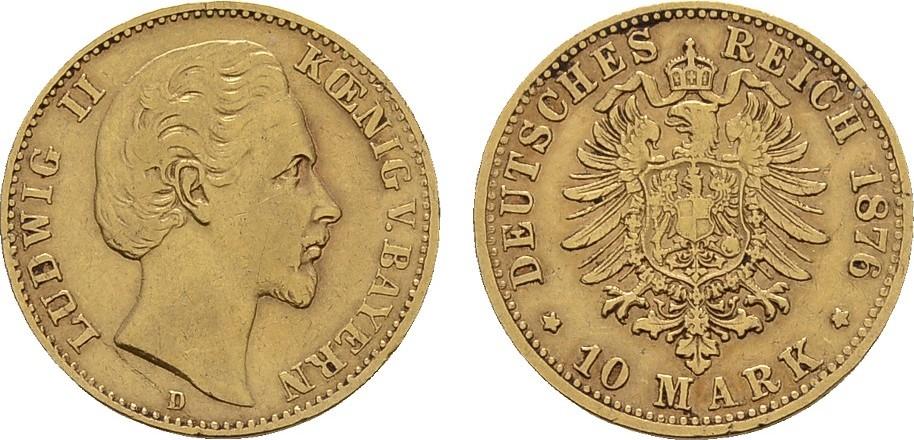 10 Mark 1876 D. Bayern Ludwig II., 1864-1886. Sehr schön