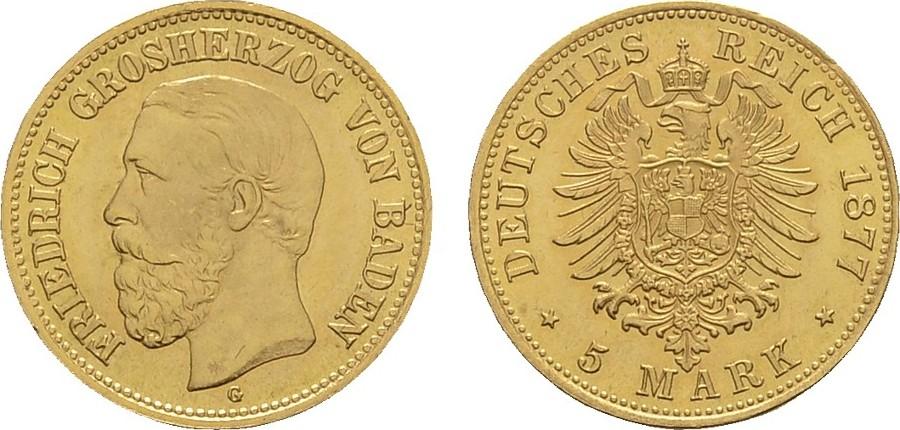 5 Mark 1877, G. Baden Friedrich I., 1852-1907. Vorzüglich / Stempelglanz