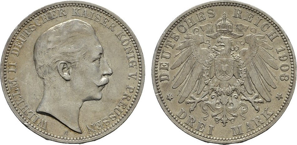 3 Mark 1908. Preussen Wilhelm II., 1888-1918. Sehr schön +