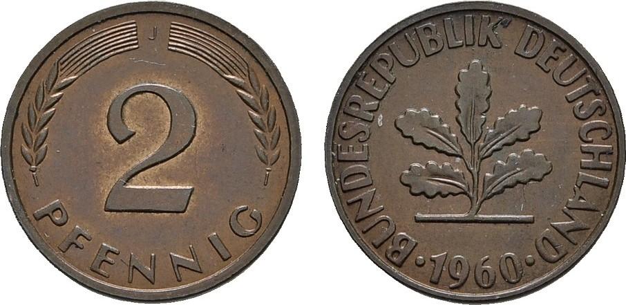 2 Pfennig 1960, J. BUNDESREPUBLIK DEUTSCHLAND Bankfrisch