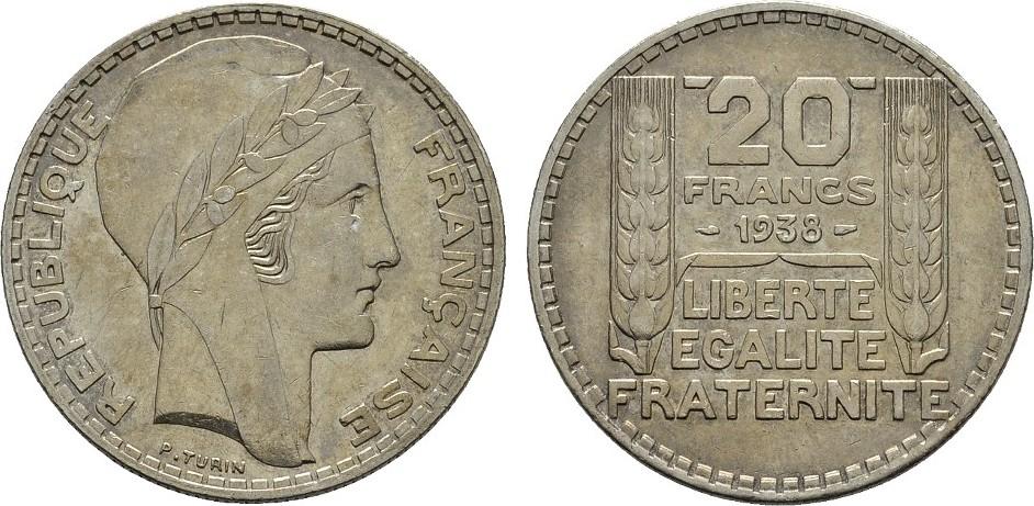 20 Francs 1938. FRANKREICH 3. Republik, 1870-1940. Sehr schön +